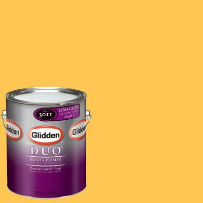 Glidden DUO 1-gal. #GLY01-01S Sunflower Semi-Gloss Interior Paint with Primer