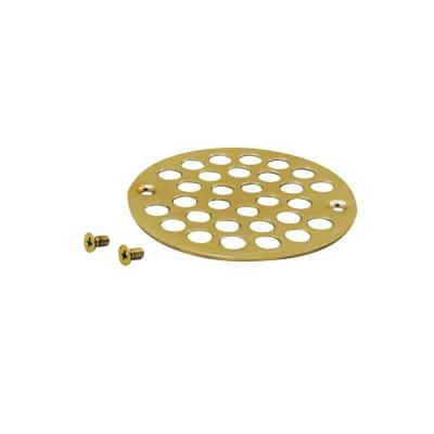 Westbrass 4 in. O.D. Shower Strainer Cover Plastic-Oddities Style in Polished Brass