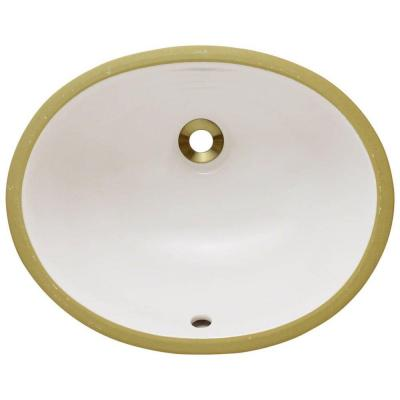 Undermount Porcelain Bathroom Sink in Bisque Product Photo