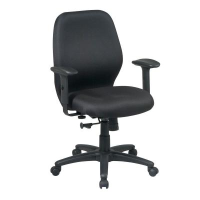 Mid Back Fabric Tilt Office Chair in Black Product Photo