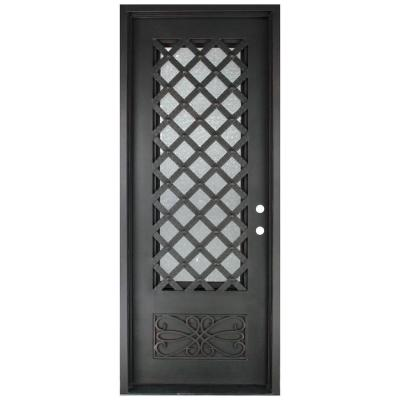 40 in. x 97.5 in. Luce Lattice Classic 3/4 Lite Painted Oil Rubbed Bronze Decorative Wrought Iron Prehung Front Door Product Photo