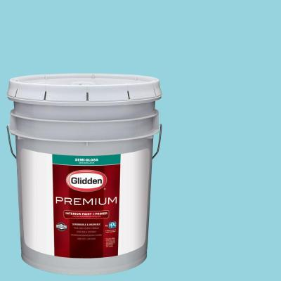 5 gal. #HDGB28U Sea Faring Clear Blue Semi-Gloss Interior Paint with