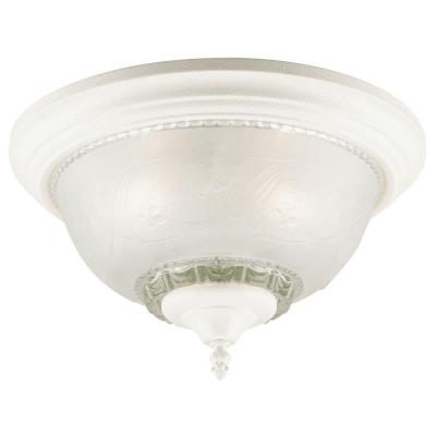 3-Light Textured White Interior Ceiling Flushmount with Embossed Floral and Leaf Design Glass Product Photo