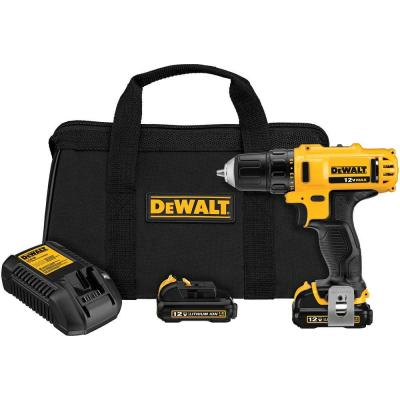 DEWALT 12-Volt MAX Lithium-Ion Cordless 3/8 in. Drill/Driver Kit with (2) Batteries 1.5Ah, Charger and Contractor Bag