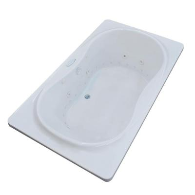 Star Diamond Series 6 ft. Center Drain Whirlpool and Air Bath Tub in White Product Photo