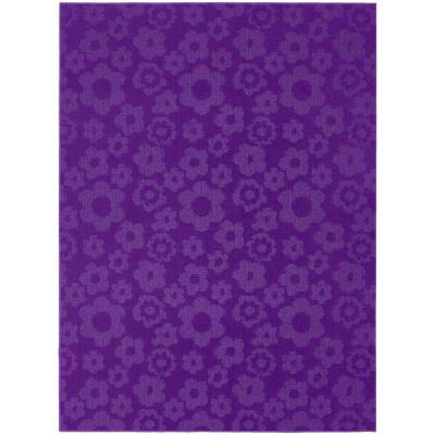 Garland Rug Flowers Purple 5 ft. x 7 ft. Area Rug