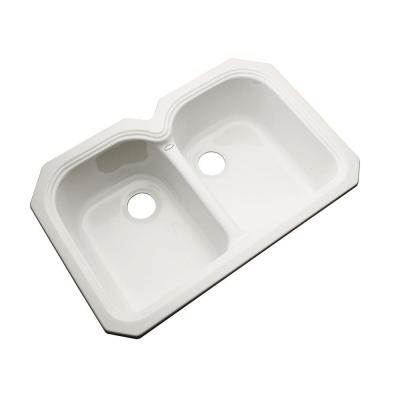 Thermocast Hartford Undermount Acrylic 33x22x9 in. 0-Hole Double Bowl Kitchen Sink in Biscuit
