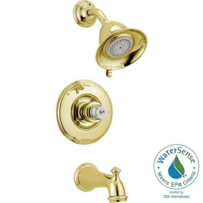 Delta Victorian 1-Handle 3-Spray Tub and Shower Faucet Trim Kit Only in Polished Brass (Valve and Handles Not Included)