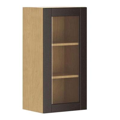 Fabritec Ready to Assemble 15x30x12.5 in. Barcelona Wall Cabinet in Maple Melamine and Door in Dark Brown Glass