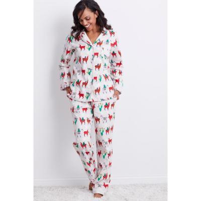Family Flannel Women's Llama 2-Piece Classic Pajama Set
