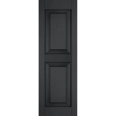 18 in. x 79 in. Exterior Real Wood Sapele Mahogany Raised Panel Shutters Pair Black Product Photo