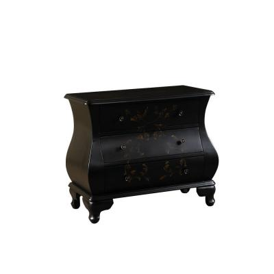 Hand-Painted 3-Drawer Wood Cabinet in Black Product Photo