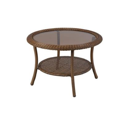 Hampton Bay Spring Haven 30 In Brown All Weather Wicker Round Patio Coffee Table 66 20310 The