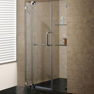 Vigo Pirouette 48 in. x 72 in. Adjustable Semi-Framed Pivot Shower Door in Brushed Nickel with Clear Glass
