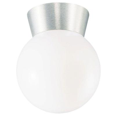 1-Light Brushed Aluminum Flush-Mount Exterior Fixture with Cast Aluminum and