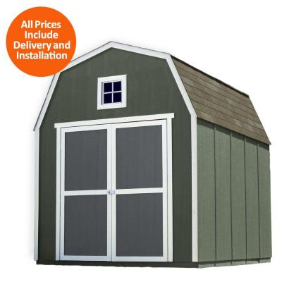 Installed Montana 8 ft. x 10 ft. Wood Storage Shed with Driftwood Shingles Product Photo