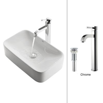 Vessel Sink in White with Ramus Faucet in Chrome