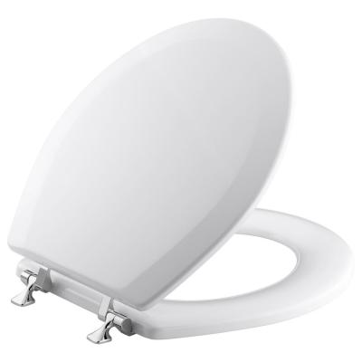 KOHLER Triko Molded Round Closed Front Toilet Seat with Cover and Polished Chrome Hinge in White