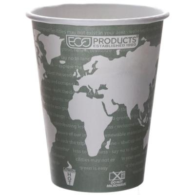 Eco-Products World Art Renewable Resource Compostable Hot Drink Cups, 12 oz., Green, 1000 Per Case