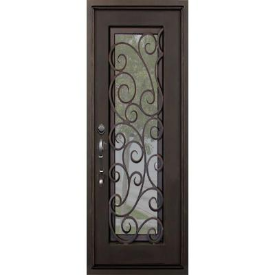 40 in. x 82 in. Lauderdale Dark Bronze Left-Hand Outswing Painted Iron Prehung Front Door with Clear Glass and Hardware Product Photo