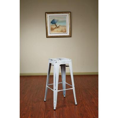 OSP Designs Bristow 30 in. Antique White Bar Stool (Set of 2)