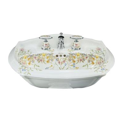 English Trellis 7-1/4 in. Vitreous China Pedestal Sink Basin in White with Overflow Drain Product Photo