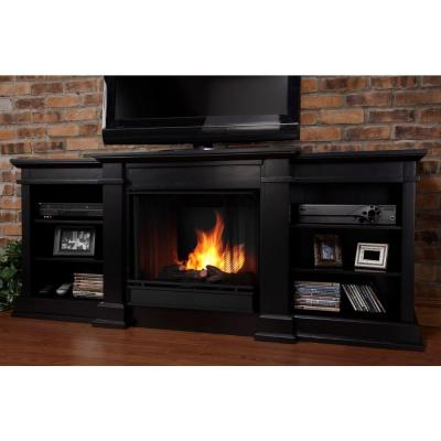 Real Flame Fresno 72 in. Media Console Gel Fuel Fireplace in Black