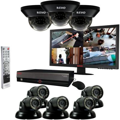 Revo 16 CH 4TB DVR Surveillance System with (8) 700TVL 100 ft. Night Vision Cameras and 21.5 in. Monitor-DISCONTINUED