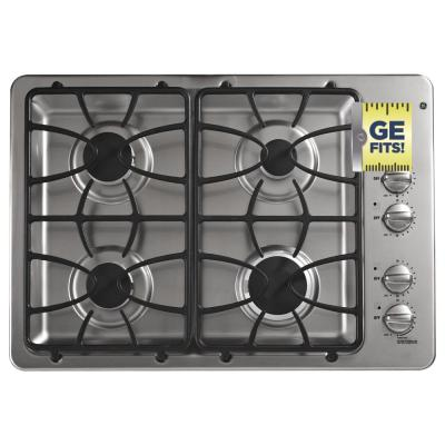 GE 30 in. Gas Cooktop in Stainless Steel with 4 Burners including Power Boil Burner