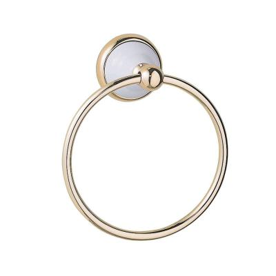 Gatco Franciscan Towel Ring in Polished Brass with White Porcelain Accents-DISCONTINUED