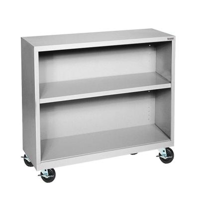Mobile 2-Shelf Steel Bookcase in Dove Gray Product Photo