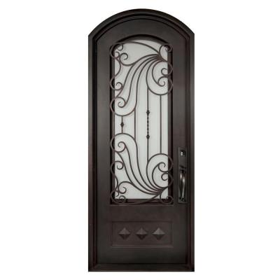40 in. x 97.5 in. Mara Marea Classic 3/4 Lite Painted Oil Rubbed Bronze Wrought Iron Prehung Front Door Product Photo