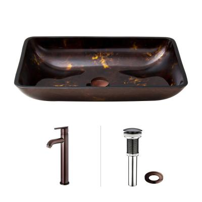Rectangular Glass Vessel Sink in Brown and Gold Fusion with Faucet in Oil Rubbed Bronze Product Photo