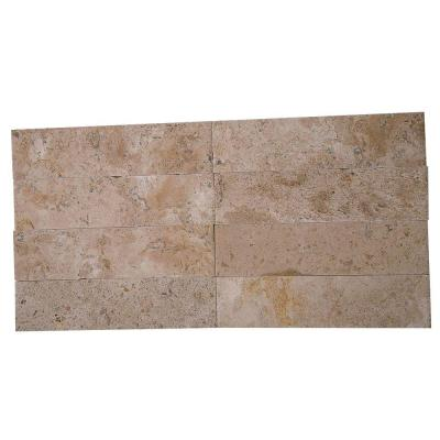 Brushed Wild Travertine 2 in. x 8 in. x 8 mm