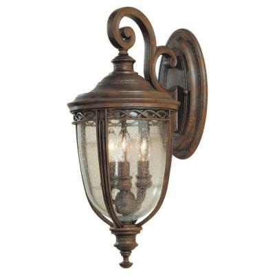 Feiss English Bridle 3-Light British Bronze Outdoor Wall Lantern