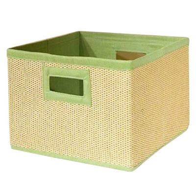 13 in. x 8 in. Cream and Lime Green Storage Baskets