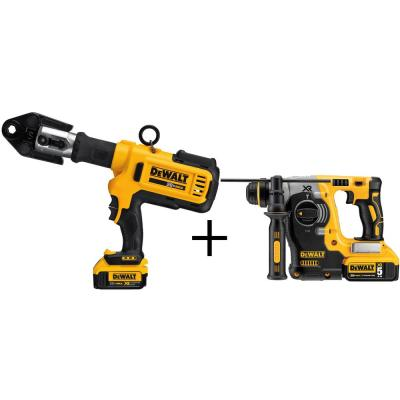 DEWALT 20-Volt MAX XR Lithium-Ion Cordless Copper Pipe Crimper with (2) Batteries 4Ah, Charger and Bonus Rotary Hammer