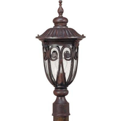 Glomar 1-Light Outdoor Burlwood Mid-Size Post Lantern with Seeded Glass