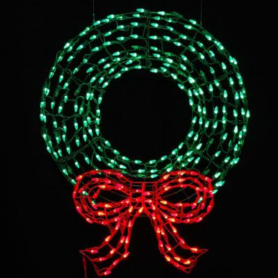 home accents holiday 36 in pre lit led outdoor wreath with bow. Black Bedroom Furniture Sets. Home Design Ideas