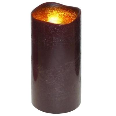 null 3 in. x 6 in. Flameless Lattice Dark Brown Candle