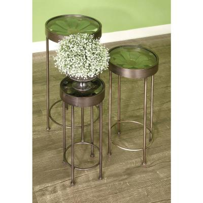 AMERICAN HOME Metal and Glass Plant Stand Tables (Set of 3)