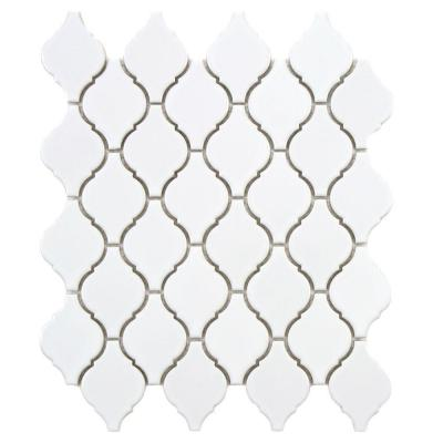 Merola Tile Arabesque Glossy White 9-7/8 in. x 11-1/8 in. x 6 mm Porcelain Mosaic Floor and Wall Tile