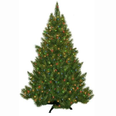 4.5 ft. Pre-Lit Carolina Fir Artificial Christmas Tree with Multi-color Lights