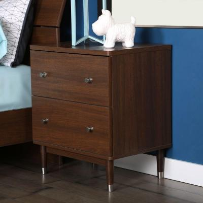 Olly 2-Drawer Nightstand in Brown Walnut