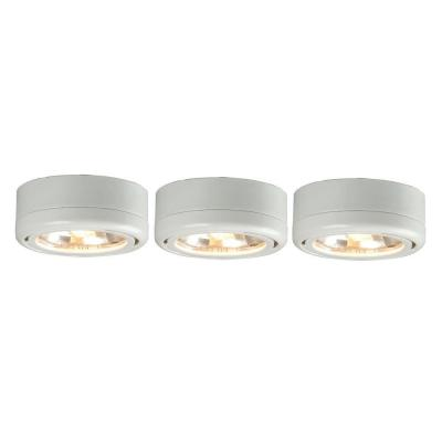 commercial electric 3 light white under cabinet puck kit ec5930wh xc the home depot cabinet lighting puck light