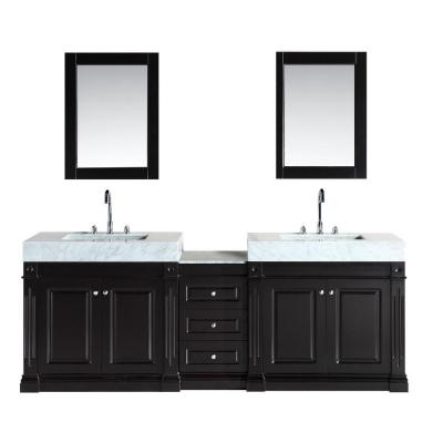 Design Element Odyssey 88 in. W x 22 in. D Double Vanity in Espresso with Marble Vanity Top in Carrara White
