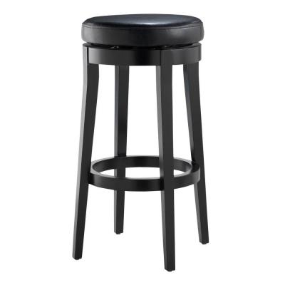 Home decorators collection backless black 30 in h swivel bar stool 0847100700 the home depot Home depot wood bar stools
