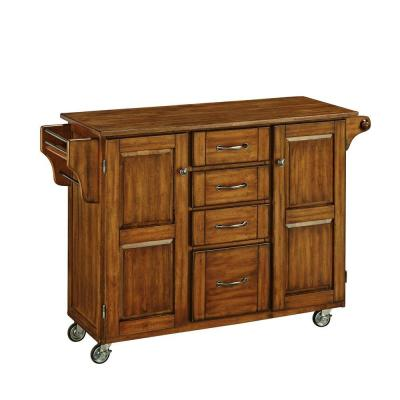 Create-a-Cart Wood Top Kitchen Cart with Towel Bar in Warm Oak