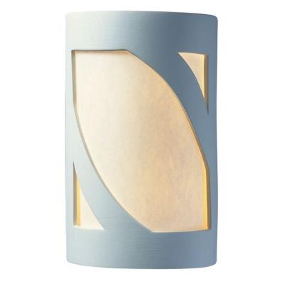 Filament Design Leonidas 1-Light 7.5 in. Outdoor Ceramic Bisque Small ADA Prairie Window Open Top and Bottom Wall Sconce