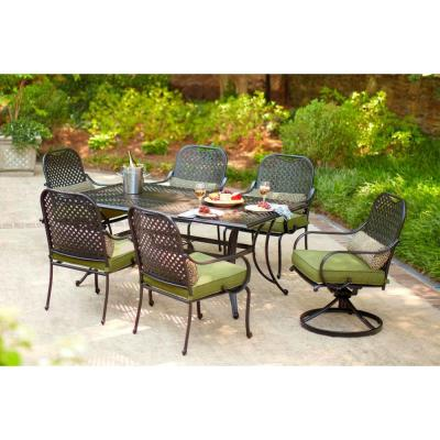 Hampton Bay Fall River 7 Piece Patio Dining Set With Moss Cushion D11034 7pc The Home Depot
